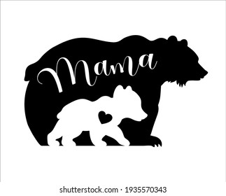Mama bear and baby bear silhouettes with heart. Kids poster for nursery. Mother's Day card. Bear family isolated on white background. Cute baby illustration.