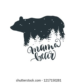 Mama Bear, Bear Family, Unique hand lettered Design.