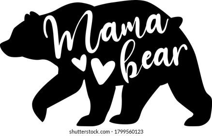 Mama bear. Motherhood quote vector