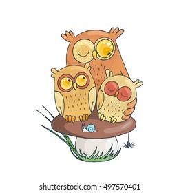 Mama-owl with two sleepy owlets sitting on mushroom. Vector Illustration