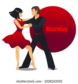 Mambo Dancers. Dancing Couple in Cartoon Style for Fliers Posters Banners Prints of Dance School and Studio. Vector Illustration