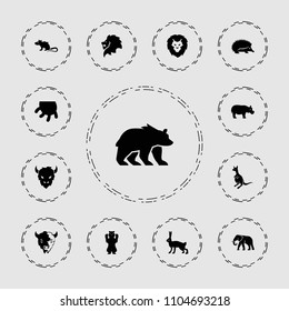 Mammal icon. collection of 13 mammal filled icons such as lion, hedgehog, elephant, kangaroo, goat, rabbit, udder, bear, mouse. editable mammal icons for web and mobile.