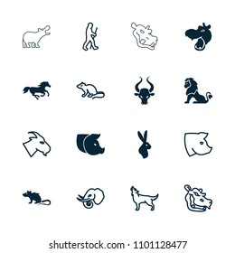 Mammal icon. collection of 16 mammal filled and outline icons such as hippopotamus, horse, mouse, goat, wolf, pig, elephant, caveman. editable mammal icons for web and mobile.