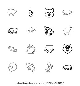 Mammal icon. collection of 16 mammal outline icons such as udder, bear, pig, rabbit, hippopotamus, goat, lion, horse, mouse. editable mammal icons for web and mobile.