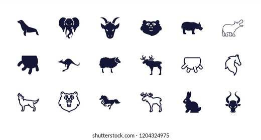 Mammal icon. collection of 18 mammal filled and outline icons such as bear, kangaroo, elephant, seal, udder, moose, horse, wolf. editable mammal icons for web and mobile.