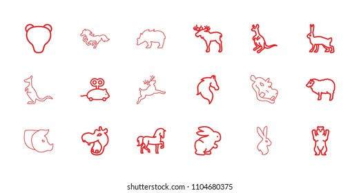 Mammal icon. collection of 18 mammal outline icons such as rabbit, moose, hippopotamus, horse, bear, sheep, cangaroo, mouse toy. editable mammal icons for web and mobile.