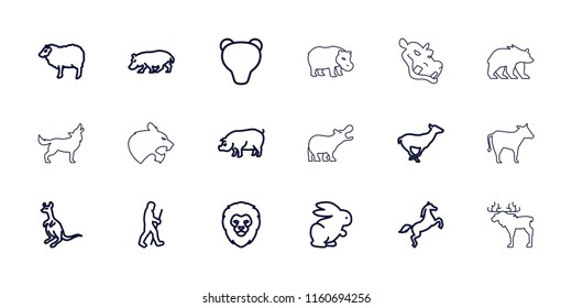 Mammal icon. collection of 18 mammal outline icons such as rabbit, lion, sheep, antelope, cangaroo, pig, hippopotamus, bear, horse. editable mammal icons for web and mobile.