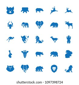 Mammal icon. collection of 25 mammal filled icons such as udder, rabbit, giraffe, lion, moose, bear, pig, deer, goat, hippopotamus. editable mammal icons for web and mobile.