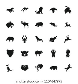 Mammal icon. collection of 25 mammal filled icons such as bear, lion, mouse, pig, deer, horse, hippopotamus, seal, goat, moose. editable mammal icons for web and mobile.