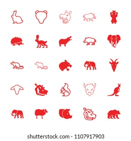 Mammal icon. collection of 25 mammal filled and outline icons such as hippopotamus, elephant, goat, hog, rabbit, mouse, squirrel. editable mammal icons for web and mobile.