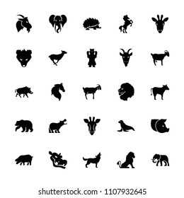 Mammal icon. collection of 25 mammal filled icons such as giraffe, lion, bear, horse, antelope, goat, elephant, cow, hog. editable mammal icons for web and mobile.