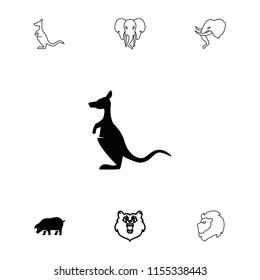 Mammal icon. collection of 7 mammal filled and outline icons such as bear, kangaroo, pig, lion. editable mammal icons for web and mobile.