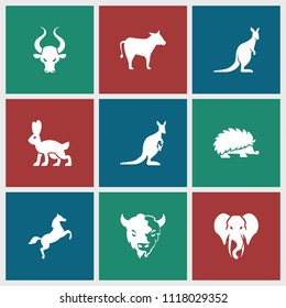 Mammal icon. collection of 9 mammal filled icons such as goat, kangaroo, elephant, horse, cow, hedgehog, bull. editable mammal icons for web and mobile.