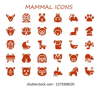 mammal icon set. 30 filled mammal icons. Simple modern icons about  - Fennec, Hamster wheel, Rabbit, Hamster, Mouse toy, Pawprints, Hedgehog, Panda bear, Sea lion, Horse, Gorilla