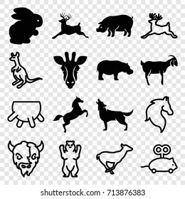 Mammal icons set. set of 16 mammal filled and outline icons such as rabbit, giraffe, pig, deer, wolf, goat, hippopotamus, horse, bear, antelope, cangaroo, udder
