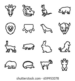 Mammal icons set. set of 16 mammal outline icons such as giraffe, lion, rabbit, bear, hedgehog, cangaroo, pig, goat, hippopotamus, seal