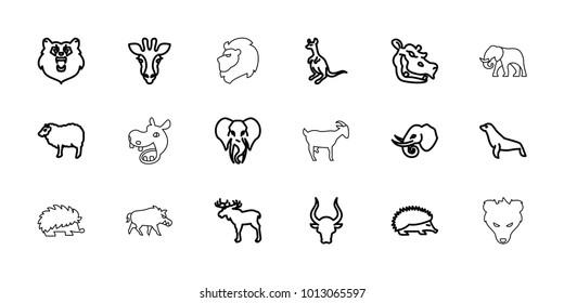 Mammal icons. set of 18 editable outline mammal icons: bear, giraffe, moose, hedgehog, sheep, cangaroo, bull, elephant, hippopotamus, seal, hog, lion