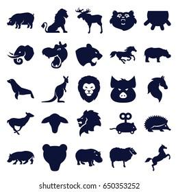 Mammal icons set. set of 25 mammal filled icons such as udder, goat, bear, lion, moose, hippopotamus, pig, hedgehog, panther, horse, sheep, antelope, kangaroo, elephant, seal