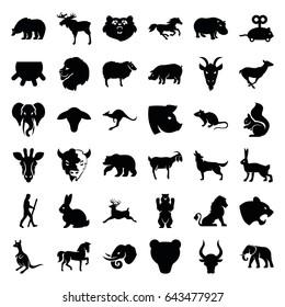 Mammal icons set. set of 36 mammal filled icons such as udder, goat, bear, giraffe, lion, moose, rabbit, horse, panther, mouse, elephant, sheep, antelope, kangaroo, pig