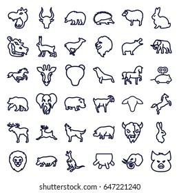 Mammal icons set. set of 36 mammal outline icons such as giraffe, moose, bear, hippopotamus, lion, rabbit, pig, horse, hedgehog, elephant, sheep, antelope, cangaroo, bull