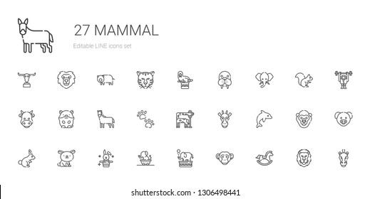 mammal icons set. Collection of mammal with horse, monkey, elephant, rabbit, dolphin, giraffe, pawprints, hamster, cow, walrus, lion, pig. Editable and scalable mammal icons.