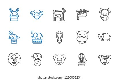 mammal icons set. Collection of mammal with monkey, lion, pig, elephant, hippopotamus, horse, walrus, cow, sloth, giraffe, bunny. Editable and scalable mammal icons.