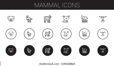 mammal icons set. Collection of mammal with pig, walrus, giraffe, rabbit, elephant, buffalo. Editable and scalable mammal icons.