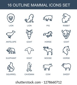 mammal icons. Trendy 16 mammal icons. Contain icons such as lion, pig, rabbit, antelope, goat, horse, elephant, moose, squirrel, caveman, cow. mammal icon for web and mobile.