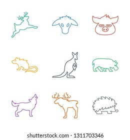 mammal icons. Trendy 9 mammal icons. Contain icons such as hedgehog, moose, wolf, hippopotamus, kangaroo, mouse, pig, goat, deer. mammal icon for web and mobile.