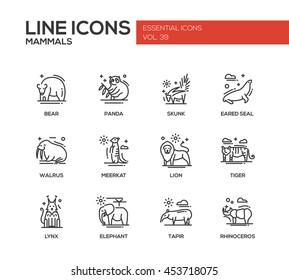 Mammals - set of modern vector plain line design icons and pictograms of animals. Bear, panda, skunk, eared seal, walrus, meerkat, lion, tiger, lynx, elephant tapir rhinoceros