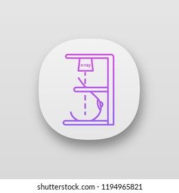 Mammography app icon. UI/UX user interface. Breast radiography. Woman breast examination. Chest x-ray screening. Web or mobile application. Mastography. Vector isolated illustration