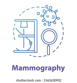 Mammography blue gradient concept icon. Breast examining idea thin line illustration. Women healthcare. Medical checkup, diagnosis. Mastography, cancer. Vector isolated outline drawing