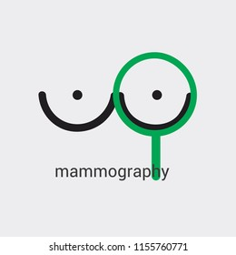 Mammography icon made in minimalist style with thick lines. Green accent on importance of announcement. Vector isolated medicine design. Use as symbol icon logo brand sketch sticker poster banner