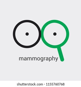 Mammography logo will prevent appearance of breast cancer in early stages. Medical vector design. Use as icon banner poster advertising booklet in clinics or public places. Vector isolated. Hand draw