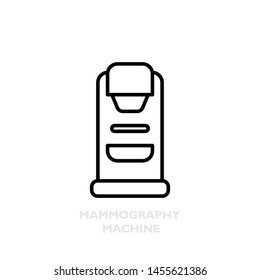 Mammography machine, line isolated icon. X-ray scan exam of woman breast cancer. Vector illustration of medical device.