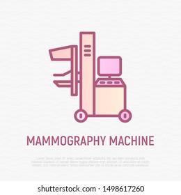 Mammography machine thin line icon. Laboratory equipment. Modern vector illustration.