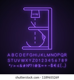 Mammography neon light icon. Breast radiography. Woman breast examination. Chest x-ray screening. Glowing sign with alphabet, numbers and symbols. Mastography. Vector isolated illustration