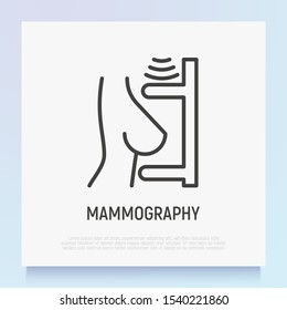 Mammography thin line icon: female breast in scanner. Laboratory research. Modern vector illustration.