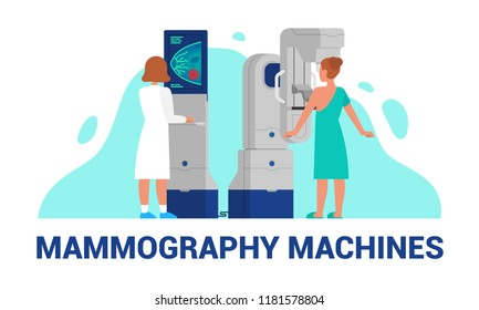 Mammography - vector illustration of  breast diagnosis and screening
