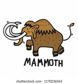 Mammoth cartoon vector illustration doodle style