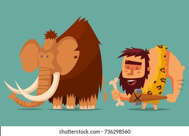 Mammoth and caveman with a stone age weapon in his hand. Vector cartoon illustration of a primitive Neanderthal man hunting for a prehistoric animal.