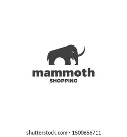 mammoth or elephant and shopping bag idea concept logo design vector icon illustration, negative space and silhouette style logos