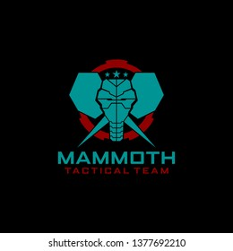 Mammoth Elephant Tactical Target  logo in Circle vector template for military tactical armory logo design