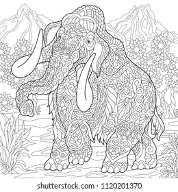 Mammoth. Extinct elephant of the Pleistocene epoch. Coloring page. Colouring picture. Coloring book. Freehand sketch drawing. Vector illustration.