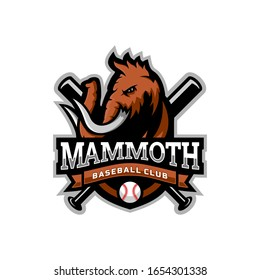 Mammoth head mascot logo for the Baseball team logo. vector illustration. can be used for your team logo. printed on t-shirts and so on.