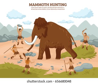 Mammoth hunting background with people mammoth and weapons flat vector ilustration