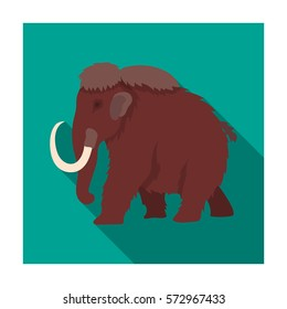 Mammoth icon in flat style isolated on white background. Dinosaurs and prehistoric symbol stock vector illustration.
