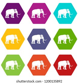 Mammoth icons 9 set coloful isolated on white for web