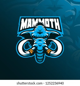 mammoth mascot logo design vector with modern illustration concept style for badge, emblem and tshirt printing. mammoth head illustration facing forward.
