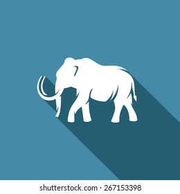 Mammoth silhouette icon. Vector Illustration. Branding Identity Corporate vector logo design template Isolated on a blue background